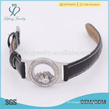 Personalisierte teen Leder Glas schwimmende locket Uhr, Leder Wrap Armband Locket
