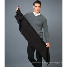 Cachecol de lã de 100% para homem em lenço de lã jacquard de cor sólida