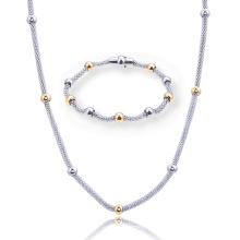 Cuentas de Acero Inoxidable Forma de Maíz Collar de Cadena Pulsera Mujeres Conjunto de Joyas