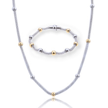 Stainless Steel Bead Corn Shape Chain Necklace Bracelet Women Jewelry Set