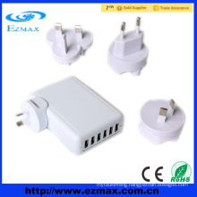 Mobile Phone High Speed 6 Ports USB Wall Charger with Multiple USB Port