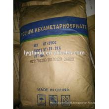 SHMP - Épaississant, conservateur de l'eau, Emulsions de graisse, clarifiez la bière, stabilisez le pigment alimentaire, - Classe de teneur en hexahétaphosphate de sodium