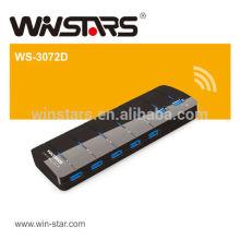 7 Häfen USB 3.0 Nabe mit Energien-Adapter, superspeed 5Gbps usb Nabe.