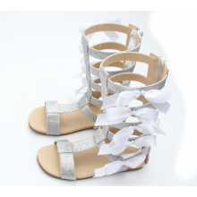 hot selling kids girl white bowknot new gladiator sandals