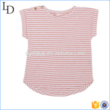 Red with white t shirt striped customized kids cotton soft fabric for girls