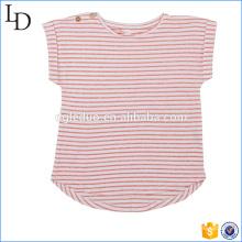 Красный с белый T рубашка в полоску подгонянные дети хлопка мягкой ткани для девочки