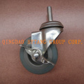 Threaded caster wheel with brake