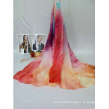 Écharpe longue en mousseline imprimée de qualité super populaire avec beaucoup de couleurs