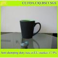 Hot Sale 11oz V Shape Matt Black Ceramic Coffee Mug Double Tone Coffee Cup