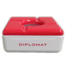 Red Square Melamine Ashtray with Lid