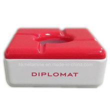 Cinzeiro de melamina quadrado vermelho com tampa