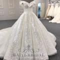 GroßhandelsV-Ansatz glänzendes Lvory moslemisches Ballkleid plus Größe 2018 Hochzeits-Kleid Alibaba