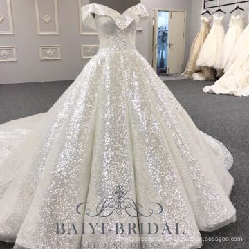 Venta al por mayor con cuello en V brillante Lvory musulmán vestido de bola más el tamaño 2018 vestido de novia Alibaba