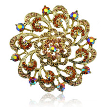 Colorful Rhinestone Beautiful Flower Gold Plating Zinc Alloy Brooch