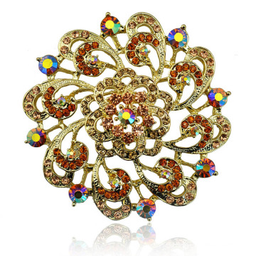 Colorful Rhinestone Beautiful Flower Gold Plating Zinc Alloy Brooch