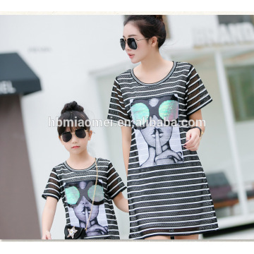 2016 summer new fashion mommy and me dress korean stlye loose long design T-shirt dress family matching clothing wholesale