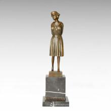 Classical Statue Frugal/Plain Lady Bronze Sculpture, D. H. Chiparus TPE-178