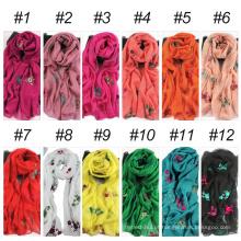 Melhor floral longo tamanho hijab lenço de cabeça indiana xale bordado