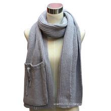 Дамы акриловые вязаный шарф с карманом (YKY4324)