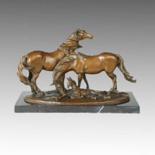 Sculpture en bronze animal Cheval Décoration familiale Statue en laiton Tpal-245