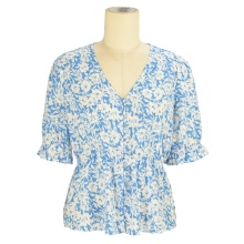 summer fashion boho floral ruffle blouse shirt casual girls' v neck women blouse tops