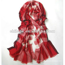 checked light wool scarf