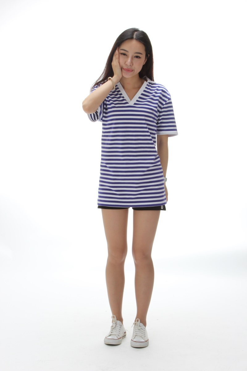 Kemeja katun musim semi baru v-neck sea striped