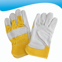 yellow cow split leather working gloves,full palm