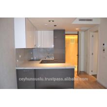 Modular Kitchen Cabinet Grey Industrial Veneer and High Gloss Acrylic Door