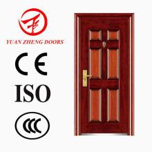 Color de madera de acero de seguridad de diseño de la puerta principal