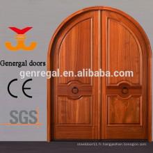 Matériau sélectionné sur mesure portes en bois massif cintré pour l'entrée