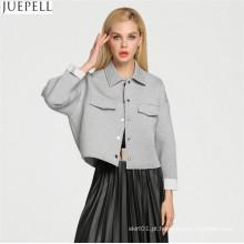 Europa mulheres moda solto seção lazer algodão cinza jaqueta casaco fábrica na China Guangzhou OEM cliente logotipo