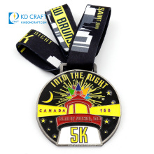 Made in china custom personalized metal zinc alloy soft enamel malaysia city 3k 5k running finisher medal