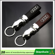 China Factory Leopard Shape Leather Keychain with Car Logo