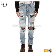 2017 New style pattern 100% cotton ripped blue mens denim jeans for wholesale