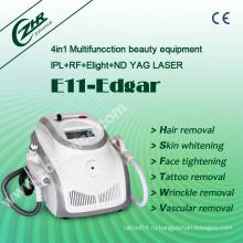 E11b Лучший эффективный Elight IPL RF ND YAG лазер 4 в 1 машина для удаления волос