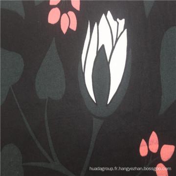 Tissu en popeline imprimé noir 100% coton 60 * 60 hotsale