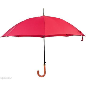 Auto Open Red Color Wood Handle Straight Umbrella (BD-22)