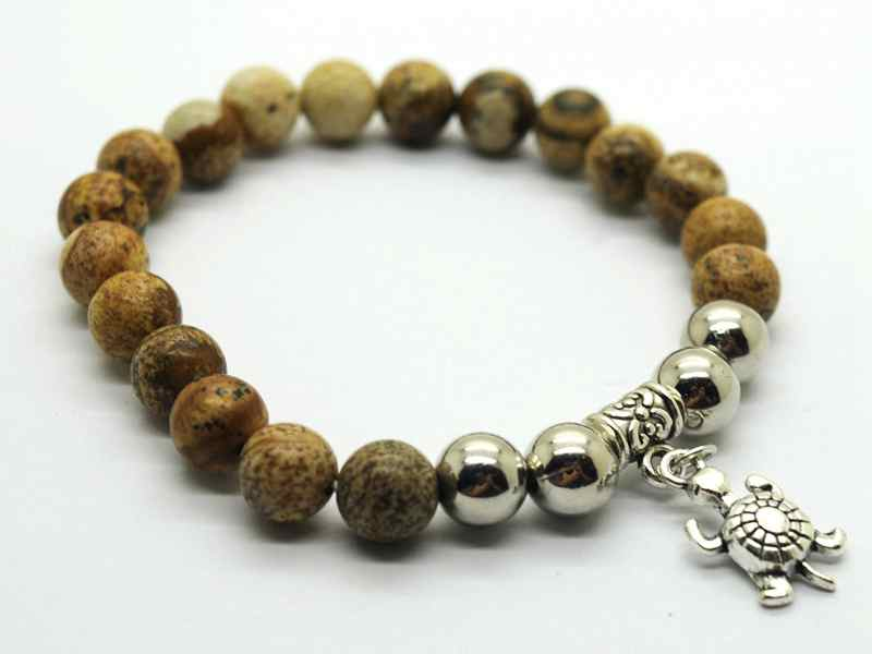 Natural Leopard Skin Bracelet Gemstone Beads jewelry alloy pendants
