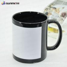 best price 11oz sublimation ceramic mug with white patch Yiwu Sunmeta manufacturer