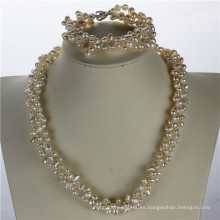 Snh 5-6mm Nugget forma de perlas de agua dulce conjunto de joyas al por mayor