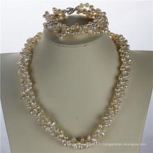 Snh 5-6mm Nugget Shape Ensemble de bijoux en perles d'eau douce Vente en gros