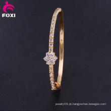 Moda cintilar branco zircônia banhado a ouro bracelete charme pulseira