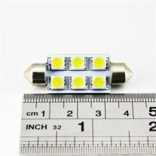 O auto interior parte a luz de 12v 24v no carro 42mm microplaqueta de 6pcs SMD 5050 conduziu o bulbo de lâmpada do carro