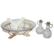 Ensaladera de vidrio con bandeja de madera y cuchara (TM106S)