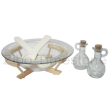 Glass Salad Bowl with Wood Tray and Spoon (TM106S)