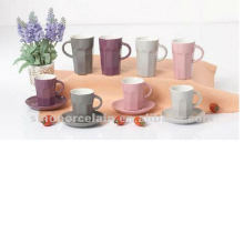 90cc ceramic cup and saucer with concave strips for BS12046