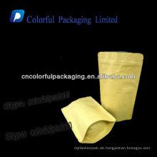 Aluminiumfolie braun Kraftpapier Taschen / wiederverschließbare Kraftpapier Kaffeebohnen Verpackung Taschen