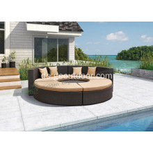 New-Design Curved Weiden Outdoor-Sofa-Set mit Kissen
