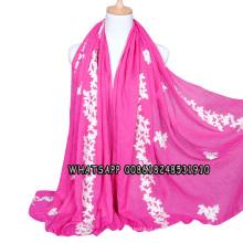 Patrón de la nueva marca de las mujeres de algodón floral bordado hijab chal